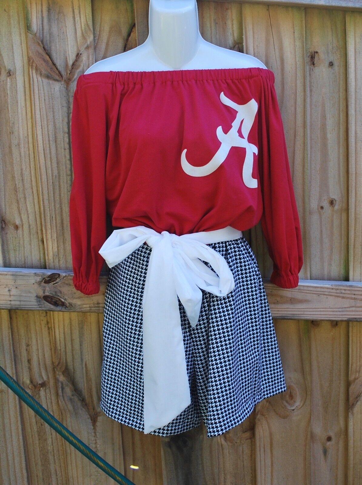 Alabama Crimson Tide Off Shoulder Game Day Romper, Jumper, Jumpsuit Sash M