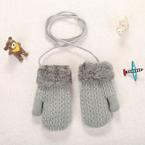Kids Toddler Girls Boys Outdoor Winter Patchwork Keep Warm Mittens Gloves