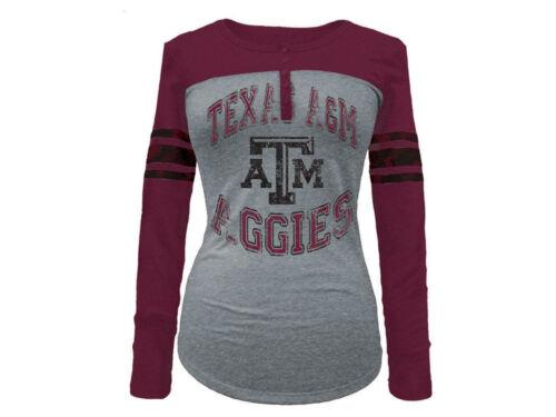 TEXAS A/&M Aggies Women/'s Long Sleeve Raglan T-Shirt 5th /& Ocean NWT 44/% off!