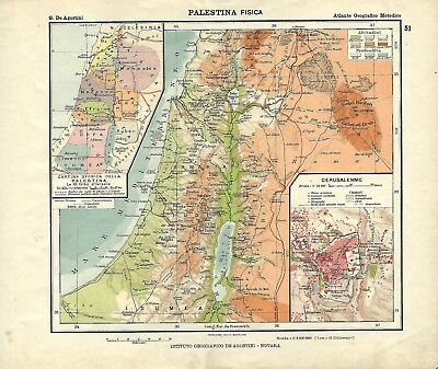 Palestina Cartina Fisica.Carta Geografica Antica Palestina Ante Grande Guerra 1914 Old Antique Map Ebay