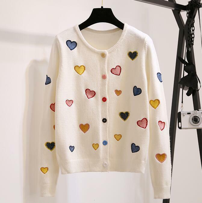 Women's Sweet Heart Embroidery Cardigan Casual Long Sleeve Kniting Sweater Sweater Sweater R962 c686e5