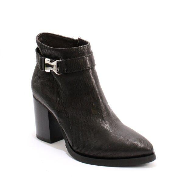 Laura Bellariva 5792 Hebilla de Cuero Negro botas al Tobillo Puntera Puntiaguda 38 US 8