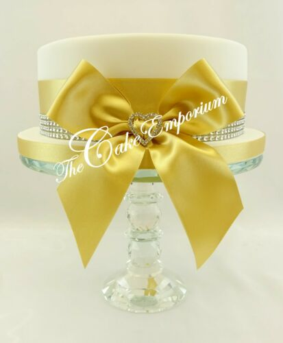 Gold Satin Ribbon Bows Diamante Rhinestone Hearts Cake Topper Options