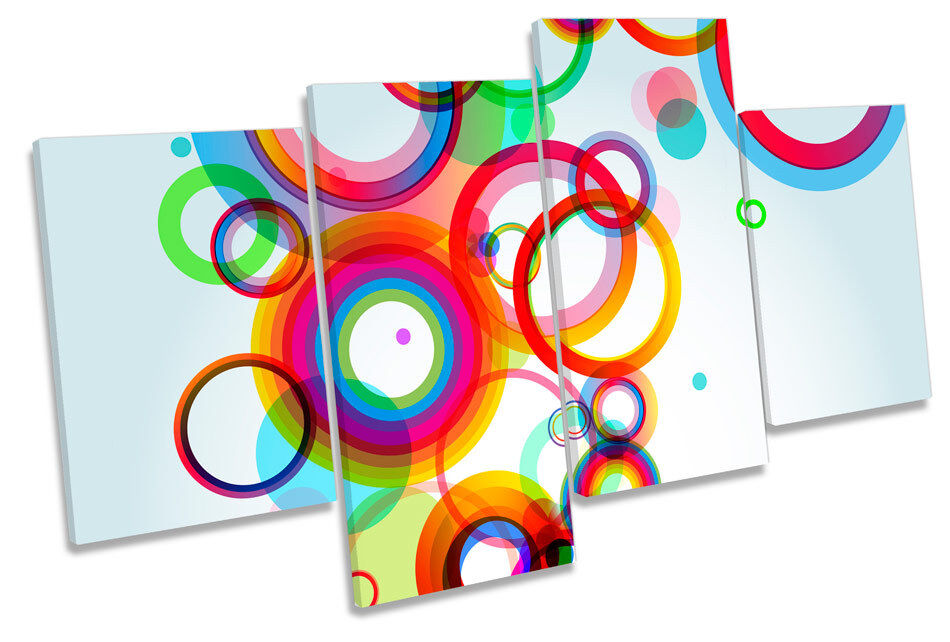 Abstract Rings Circles MULTI CANVAS WALL ART Boxed Framed