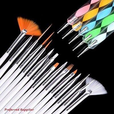 20pcs Nail Art Design Set Painting Dotting Drawing Polish Brush Pen Tools - NEW