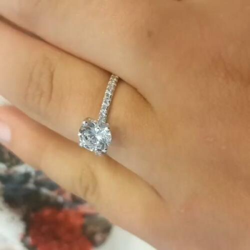 1.25 Ct Round Cut Solitaire Diamond Engagement Ring 14k White Gold Over 4