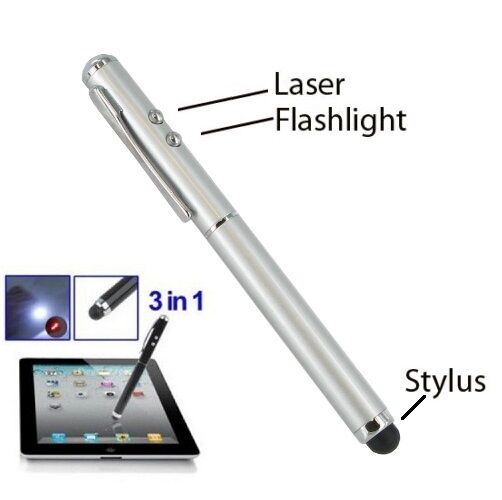 Silver 3 in 1 LED Light Stylus Pen Laser Pointer for Touch Screen LP-SV