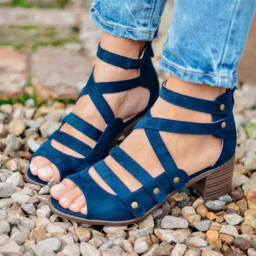 Ladies Peep Toe Mid Block Heel Sandals Womens Ankle Strap Rivets Cut Out Shoes