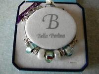 Bella Perlina Charm Bracelet Aqua Pearl Interchangeable One Size Free Gift
