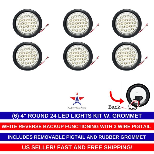 4 U0026quot  Inch White 24 Led Round Reverse  Backup  Tail Trailer