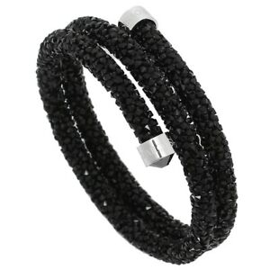 Details about AUTH Swarovski CRYSTALDUST DOUBLE BANGLE, BLACK, STAINLESS  STEEL 5250023 no box