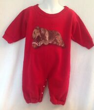 WES & WILLY Boutique Red Dog w Football Boy's 12m Sweatshirt Romper Unique