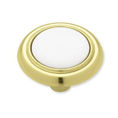 P50081-PBW Polished Brass /& White Ceramic 1 1//4 Cabinet Drawer Pull Knob