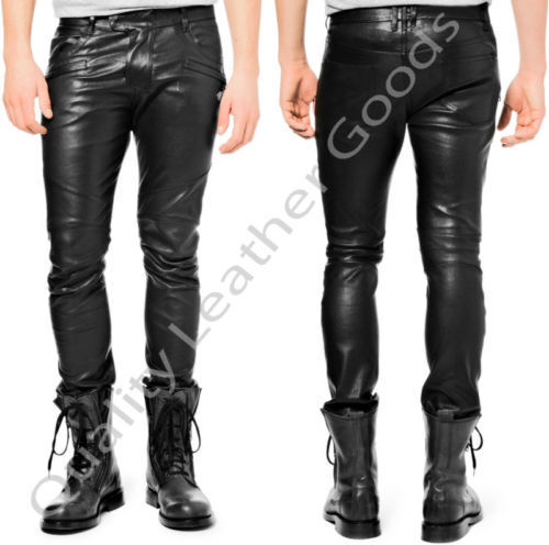 MENS LEATHER JEANS  THIGH FIT OUTRAGEOUSLY LUXURY PANTS TROUSERS 1FN blueF L 36