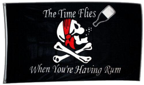 Fahne Flagge Pirat The Time Flies When You are Having Rum - 90 x 150 cm Hissflag