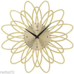 AMS-Wanduhr-9361-Quarz-goldfarben-florales-Design-in-Kunststoff