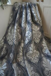 CHARCOAL-GREY-CHAMPAGNE-DAMASK-PATTERN-EYELET-CURTAINS-46WX54D-SHEEN-LINED-1OF3