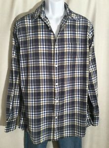 SONOMA-LIFESTYLE-Mens-Size-LARGE-Blue-Gray-Plaid-Long-Sleeves-Button-Front-SHIRT