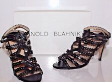 Manolo Blahnik Shoes Black & Beige Leather Hand Made Cage Sandals size 36.5 EUR
