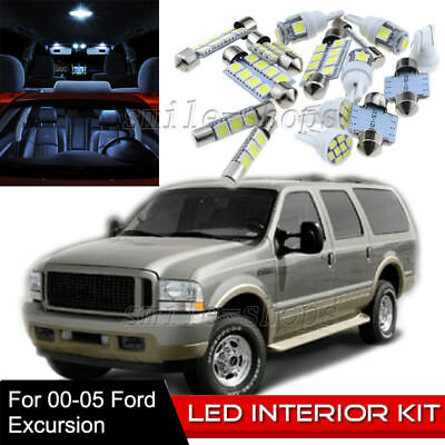 12-pc White 6K LED Interior Light Bulbs Package Kit Fit 2000-2005 Ford Excursion