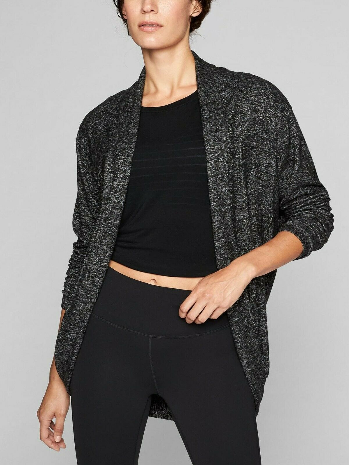 New ATHLETA Luxe Pose Wrap CHARCOAL HEATHER Extra Small XS