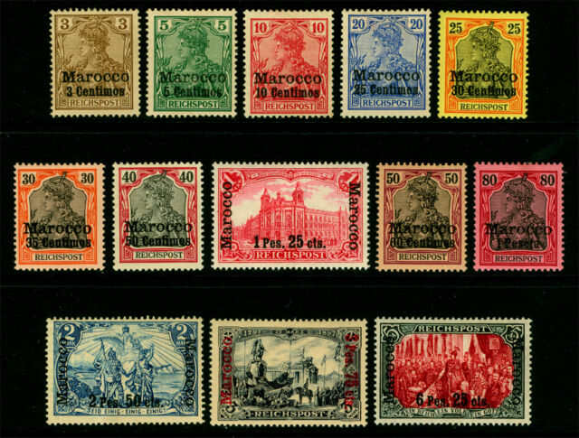 German Colonies - Offices in MOROCCO 1900  SURCHARGED set  Sc# 7-19  mint MH