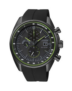 NEW-Citizen-Mens-Black-Stainless-Steel-Eco-Drive-Chronograph-Watch-CA0595-03E