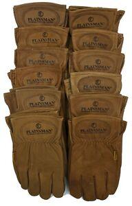 Plainsman-Premium-Goatskin-Cabretta-Leather-Gloves-BROWN-12-Pairs-Sm-XL-NEW