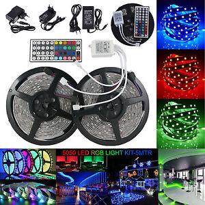 1m-5m-10m-LED-Stripe-5050-SMD-RGB-LED-Leiste-Streifen-Netzteil-IR-Fernbedienung