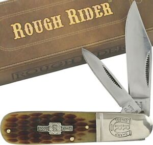 Rough-Rider-Amber-Jigged-Handle-Barlow-Pocket-Knife-RR201-2-Folding-Blades