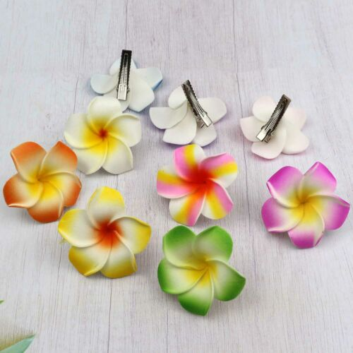 10pcs 5cm Hawaiian Frangipani Hair Clip Plumeria Foam Head  Women Hair Clip DIY