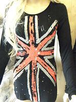 UNION JACK ENGLAND FLAG LADIES FASHION BLACK TOP T-SHIRT SLIM LONGLINE ONE SIZE