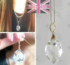 RRP£8 big FACETED GLASS CRYSTAL pendant NECKLACE gold pl/brass SNAKE CHAIN facet