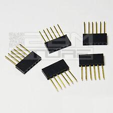 5 pz connettori strip line 6 poli femmina LUNGHI per ARDUINO - ICSP - ART. AW01