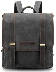 6f00f9c4cde7 Image is loading Waxed-Canvas-and-Leather-Vintage-Backpack-College-School-