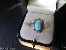 Antique Victorian 14k White  Gold Robin Egg Turquuoise Beautiful  Diamond  Ring