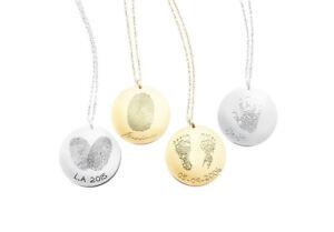Baby-Kinder-Hand-Fuss-Abdruck-925-Silber-Kette-Gold-Gravurkette-fuer-Mamas-Taufe