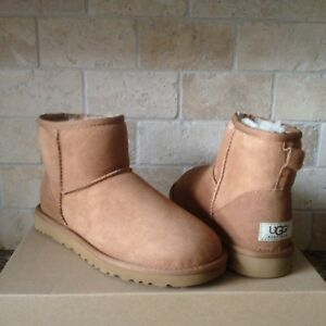 8994d00ae28 Details about UGG Classic Mini Boots Chestnut Suede Sheepskin Winter Boots  Size US 10 Womens