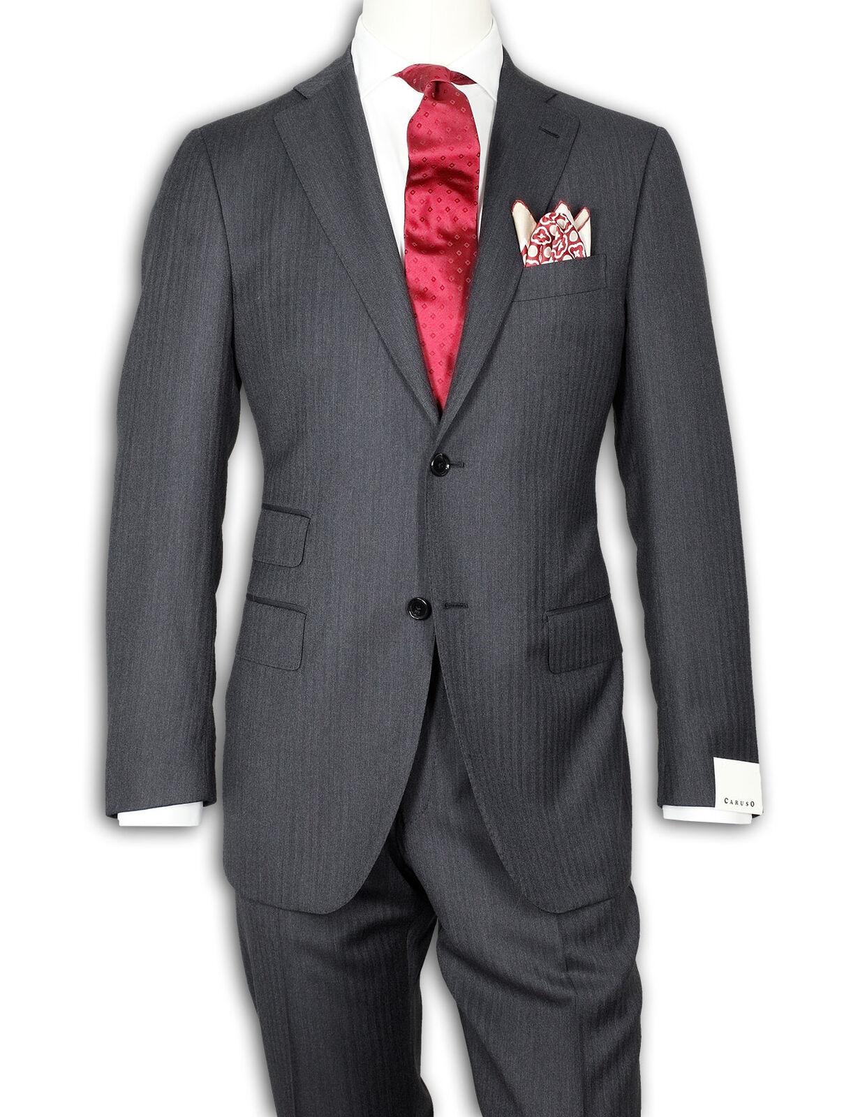 Caruso Anzug in grau fischgrat aus Super 130'S Wolle