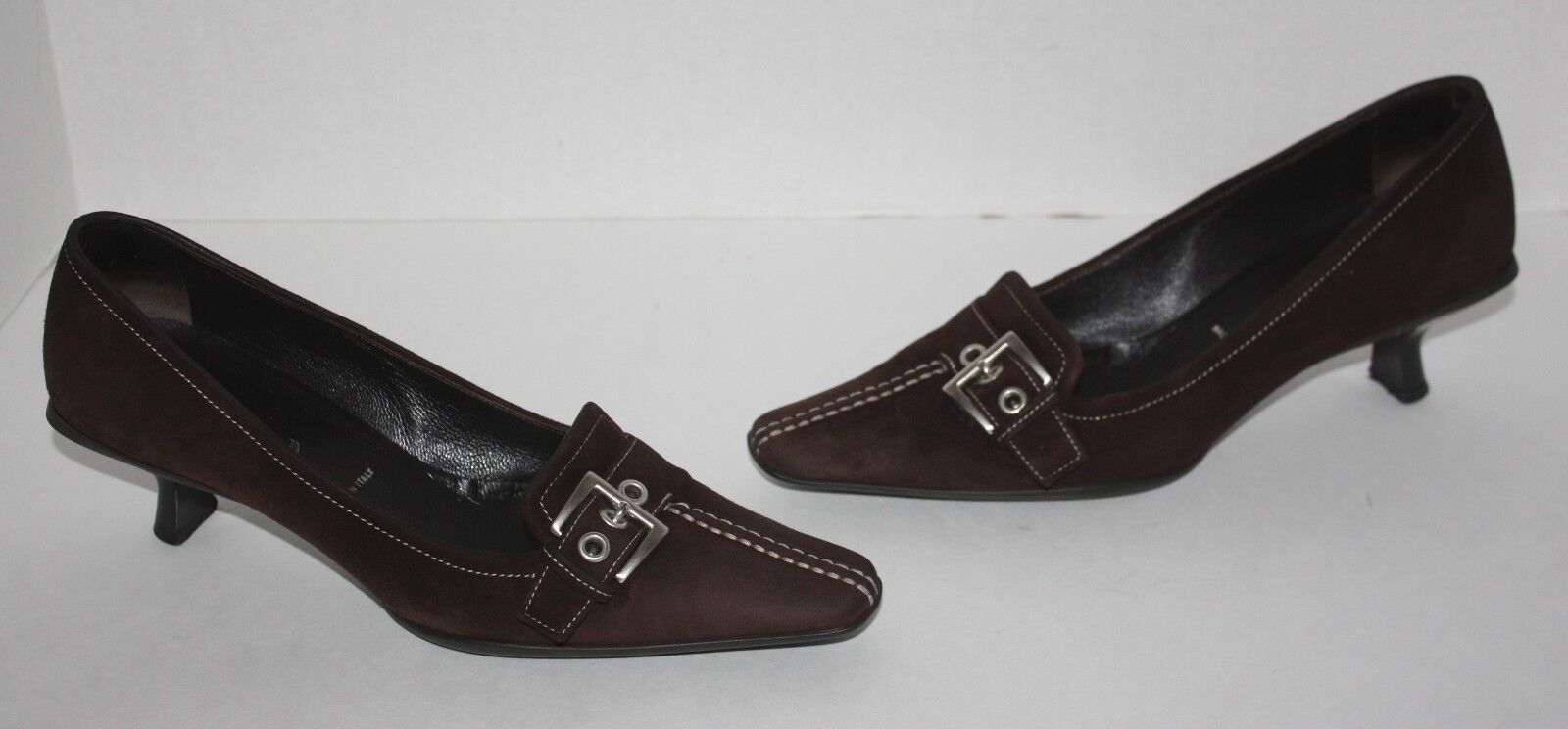 damen PRADA braun Suede Leather Classic Buckle Pumps Heels Größe 36   US 6
