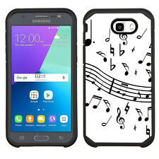 2-Layer Phone Case (Blk) for Samsung Galaxy J7 Prime -Music Notes /White