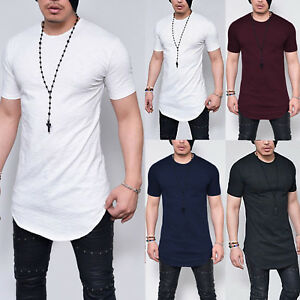 Mens-Longline-Slim-Fit-Short-Sleeve-T-Shirt-Fitness-Muscle-Basic-Sports-Tee-Tops