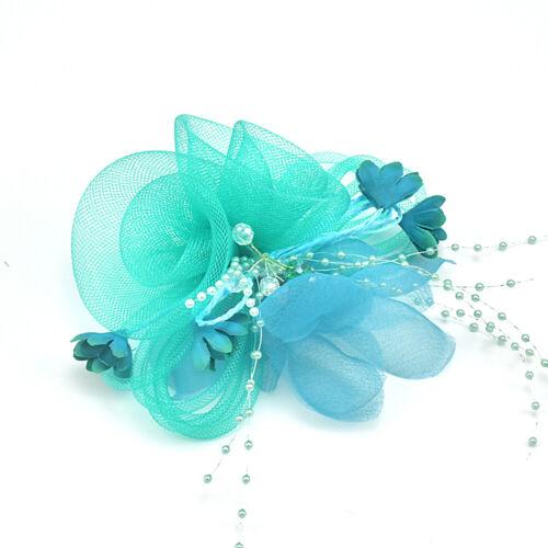 Women Headpieces Flower Hat Brooch Clip Bead Fascinator Bride Wedding Party GB04