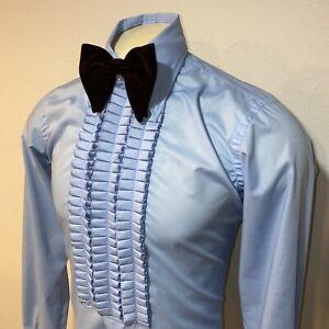 VTG-60s-70s-blau-nach-sechs-Spitze-Rueschen-Smoking-Dress-Shirt-Tux-Herren-Medium-15-36