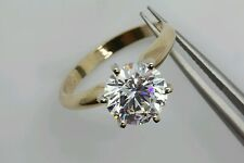 2.5ct Solitaire 14k solid gold man-made diamond ring