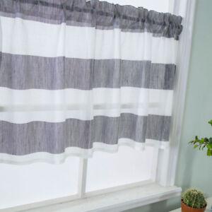 Details about Gray Stripe Short Valance Rod Pocket Curtains Kitchen Window  Treatment Decor
