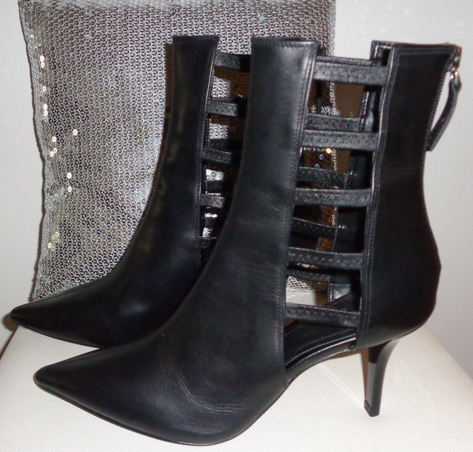 Bottes bottines cuir noir bout pointu vamp effet cage latéral zip arrière ZARA 38