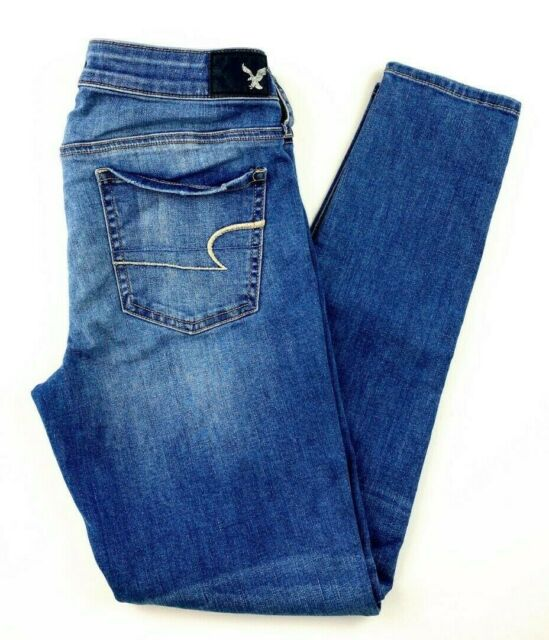 American Eagle Women's Jeans Size 10 Jegging Distressed Stretch Blue Denim