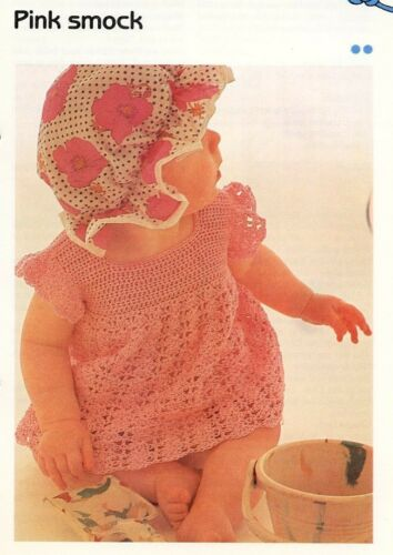Pink Smock for Baby Cavendish Crochet Pattern//Instructions Leaflet NEW