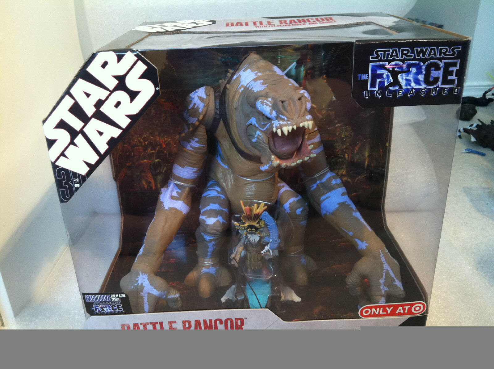 Star Wars The Force Unleashed Battle Rancor avec felucian Rider 2008 NEUF RARE